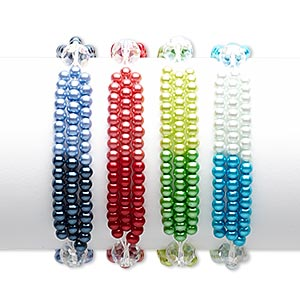 Bracelet Mix, 3-strand Stretch, Glass Glass Pearl, Mixed AB Colors, 4mm Round 10x8mm Faceted Rondelle, 7 Inches. Sold Per Pkg 4