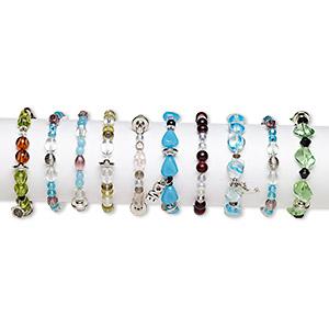 Bracelet Mix, Stretch, Glass / Steel / Mix-coated Plastic, Multicolored, 3-16mm Multi-shape, 7 Inches. Sold Per Pkg 10