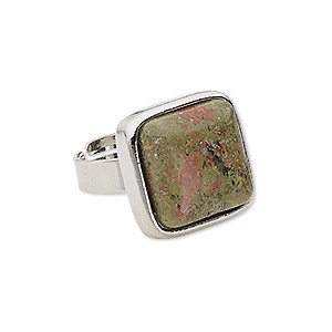 Ring, Unakite (natural) Silver-plated Steel pewter (zinc-based Alloy), 18x18mm-19x19mm Square, Adjustable Size 5-9. Sold Individually
