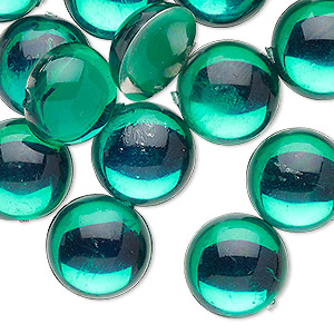 Cabochon, Acrylic, Transparent Green, 15mm Non-calibrated Round. Sold Per Pkg 24