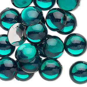 Cabochon, Acrylic, Transparent Green, 13mm Non-calibrated Round. Sold Per Pkg 24