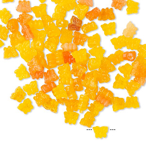 Bead Mix, Acrylic, Translucent Yellow / Transparent Orange / Light Red, 5x4mm Top-drilled Butterfly. Sold Per Pkg 100