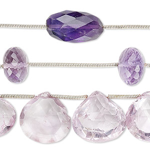 Bead Mix, Amethyst Lavender Amethyst (natural / Dyed), 10x7mm-20x16mm Hand-cut Mixed Shape, B Grade, Mohs Hardness 7. Sold Per Pkg (3) 6-inch Strands