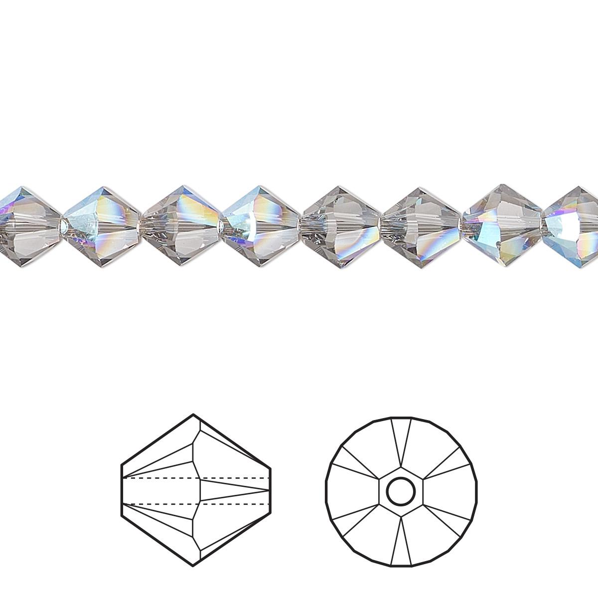 Bead Swarovski Crystals Black Diamond Shimmer 6mm