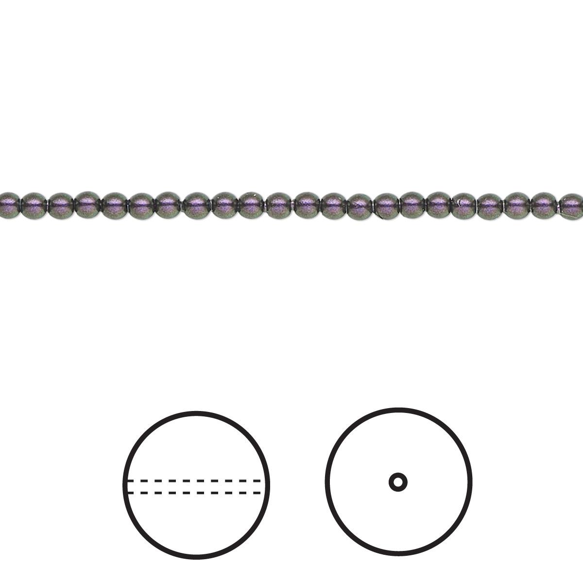 Pearl Swarovski Crystals Iridescent Purple 2mm Round