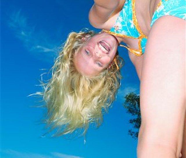 Preteen Girls Bent Over Girl Leaning Over In Swimwear Outdoors Stock Photo Premium Royalty