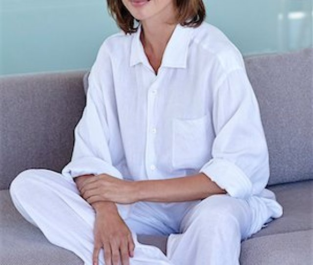 Elegant Matures Beautiful Mature Woman Relaxing In White Linen Stock Photo Rights