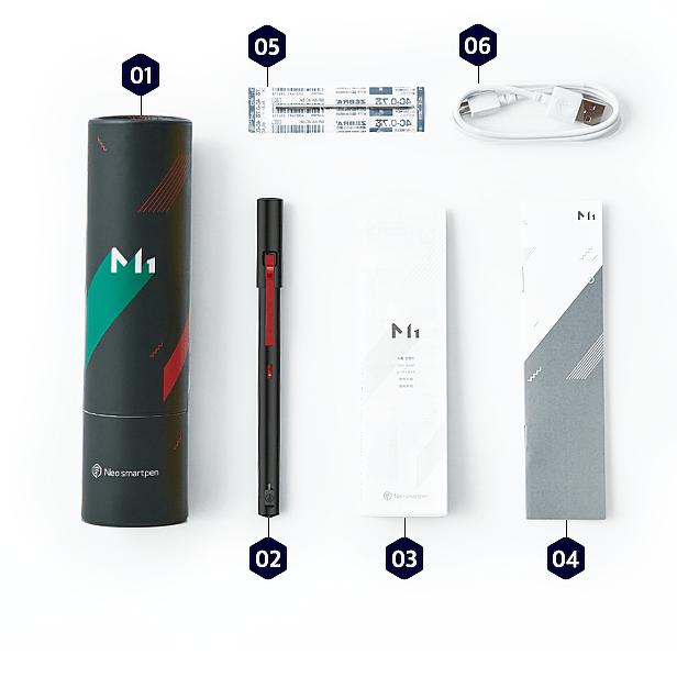 01:圓筒外包裝 02:Neo smartpen M1智慧筆 03:操作說明書 04:測試用Ncode 05:替換筆芯 06:micro USB 充電線