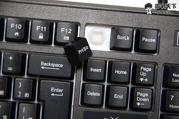 鍵帽下跟單手鍵盤採用相同的薄膜式