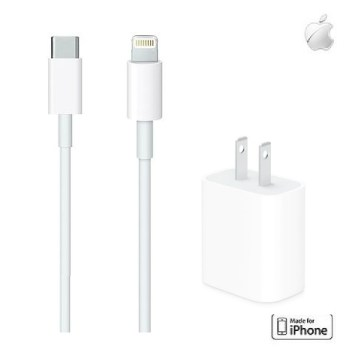 Apple USB Type-C to Lightning傳輸充電線 1M+Apple 原廠 20W USB-C 電源轉接器
