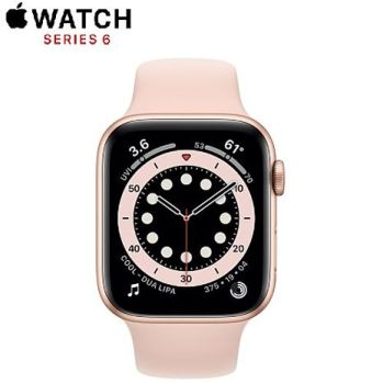 Apple Watch Series6 GPS版 44mm 金色鋁金屬錶殼配淺粉紅色運動錶帶