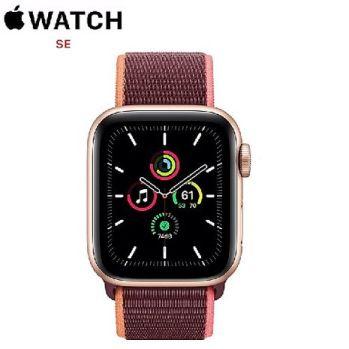 Apple Watch SE GPS + LTE版 44mm 金色鋁金屬錶殼配梅李色運動型錶環