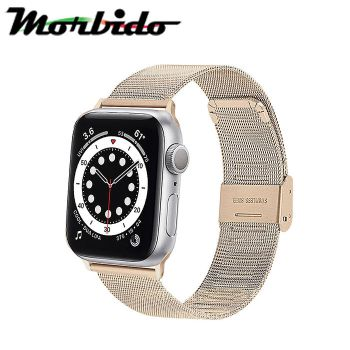 【Morbido 蒙彼多】Apple Watch 6/SE 44mm 不鏽鋼編織卡扣式錶帶