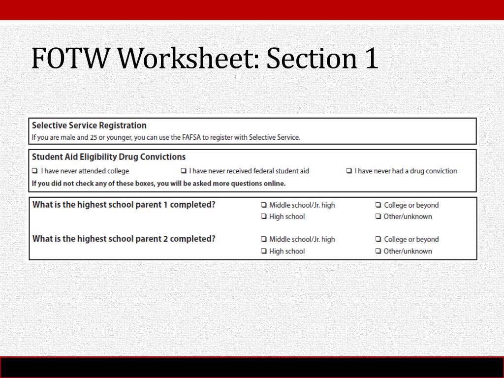 Fafsa Drug Conviction Worksheet