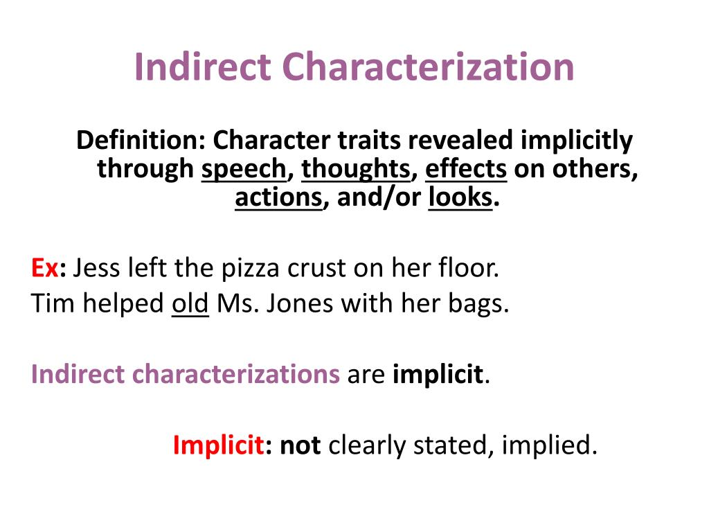 What Does Indirect Characterization Mean