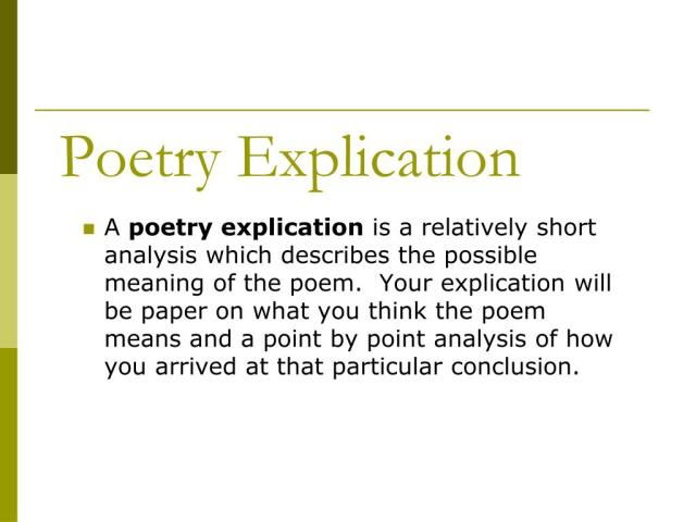 PPT - Poetry Explication PowerPoint Presentation, free download