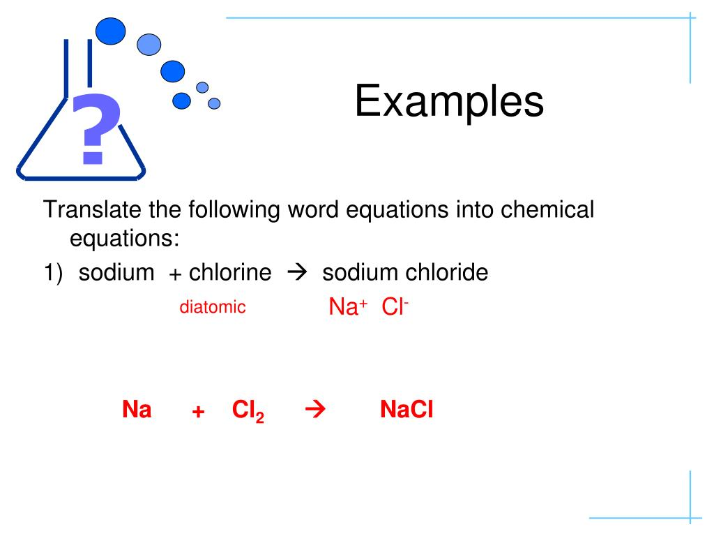 Spice Of Lyfe Chemical Word Equations Examples
