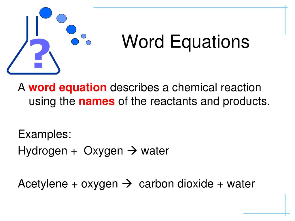 How To Write A Word Equation For Chemical Reaction