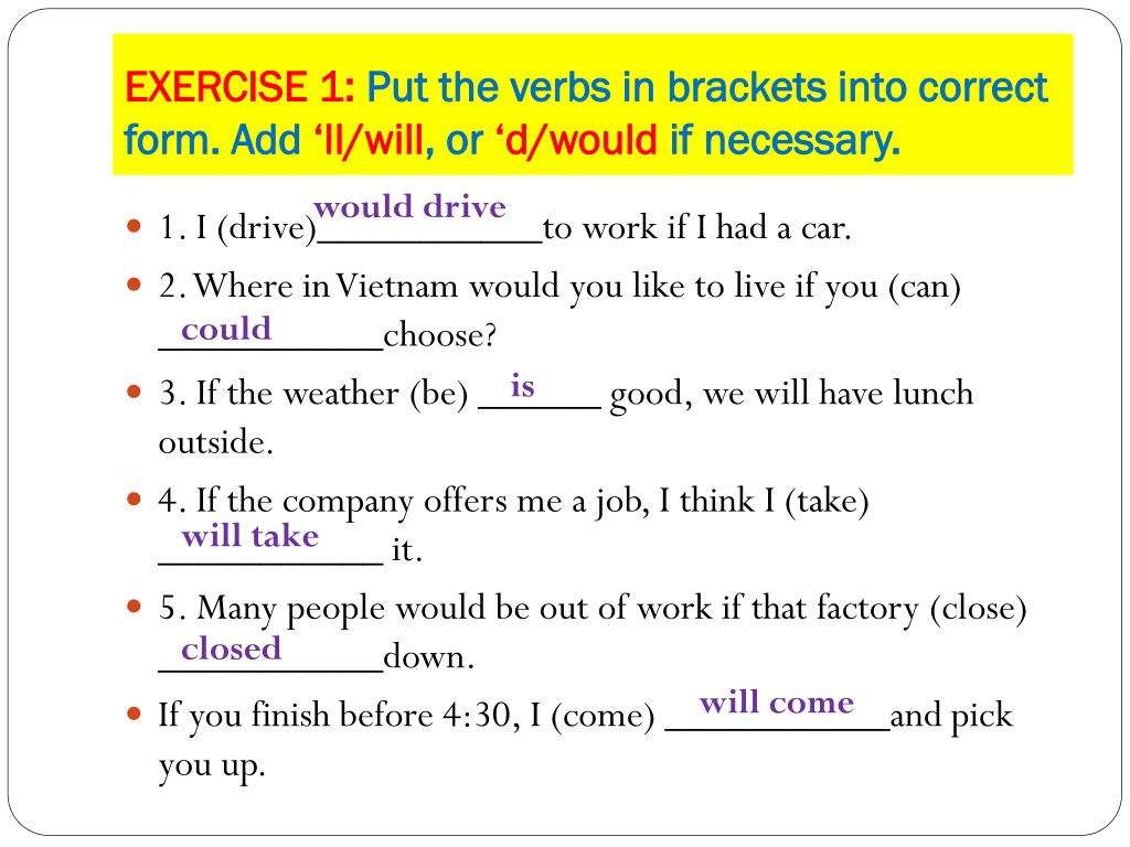 Complete The Following Sentences With The Correct Form Of The Verb In Brackets
