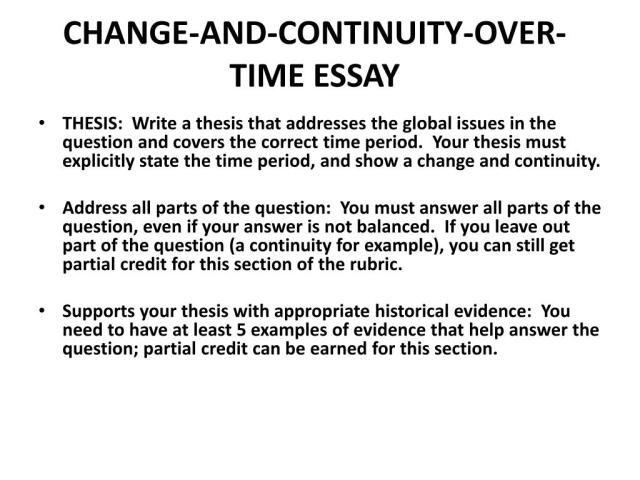 PPT - HOW TO WRITE A CHANGE AND CONTINUITY OVER TIME ESSAY (CCOT
