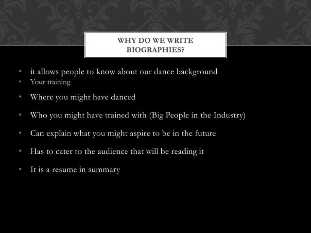 PPT - Writing a Dance Biography PowerPoint Presentation, free