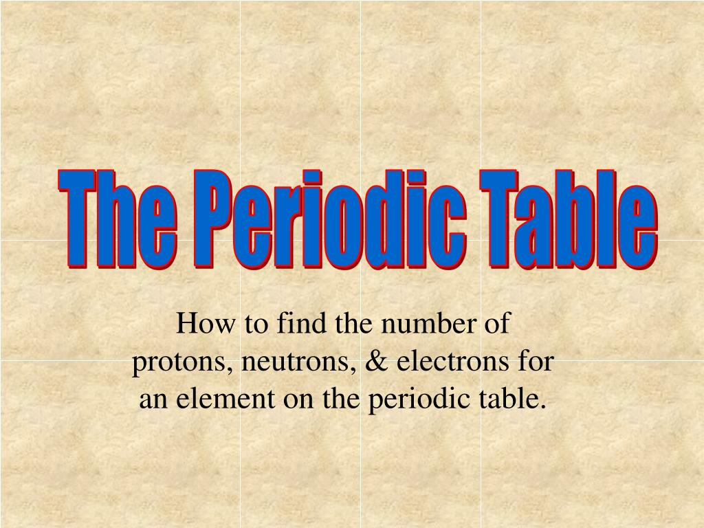 Using The Periodic Table To Determine Protons Neutrons And