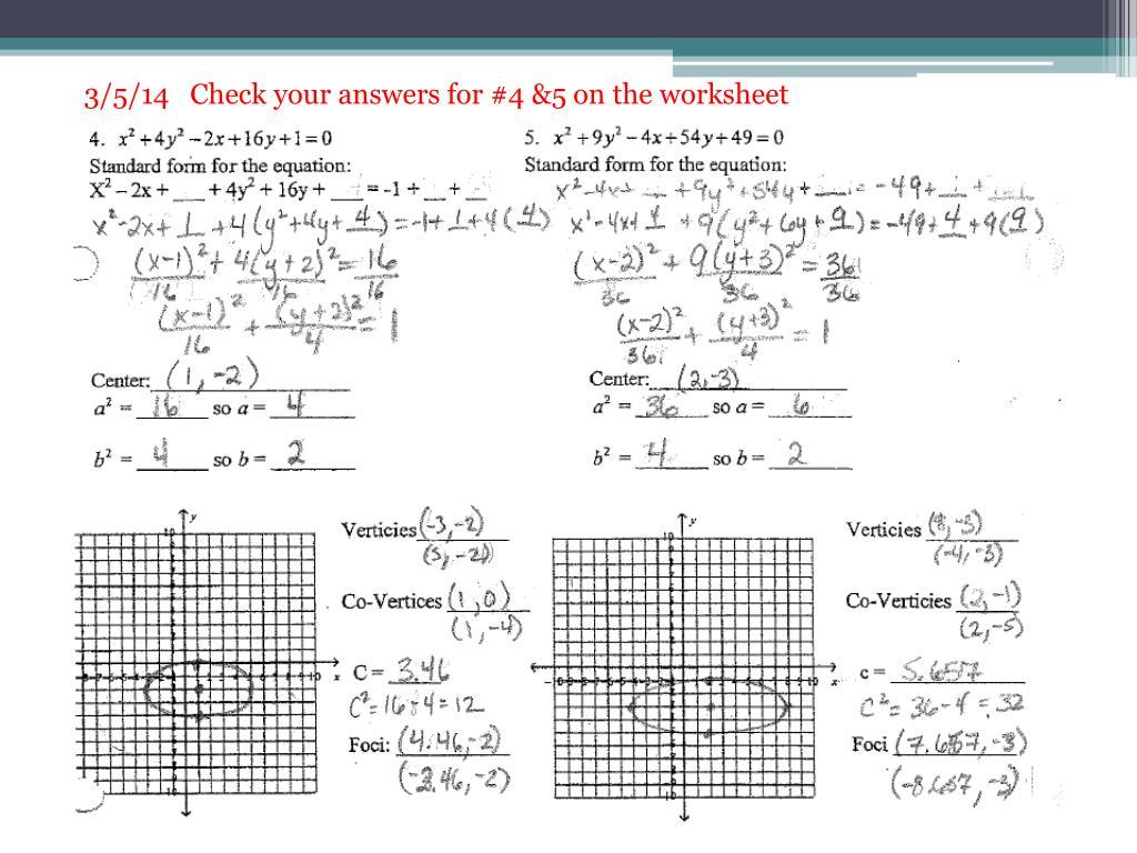 Completing The Square Ellipse Worksheet