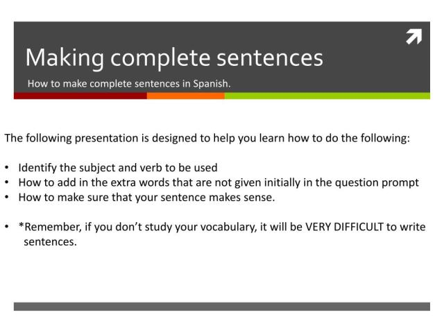 PPT - Making complete sentences PowerPoint Presentation, free