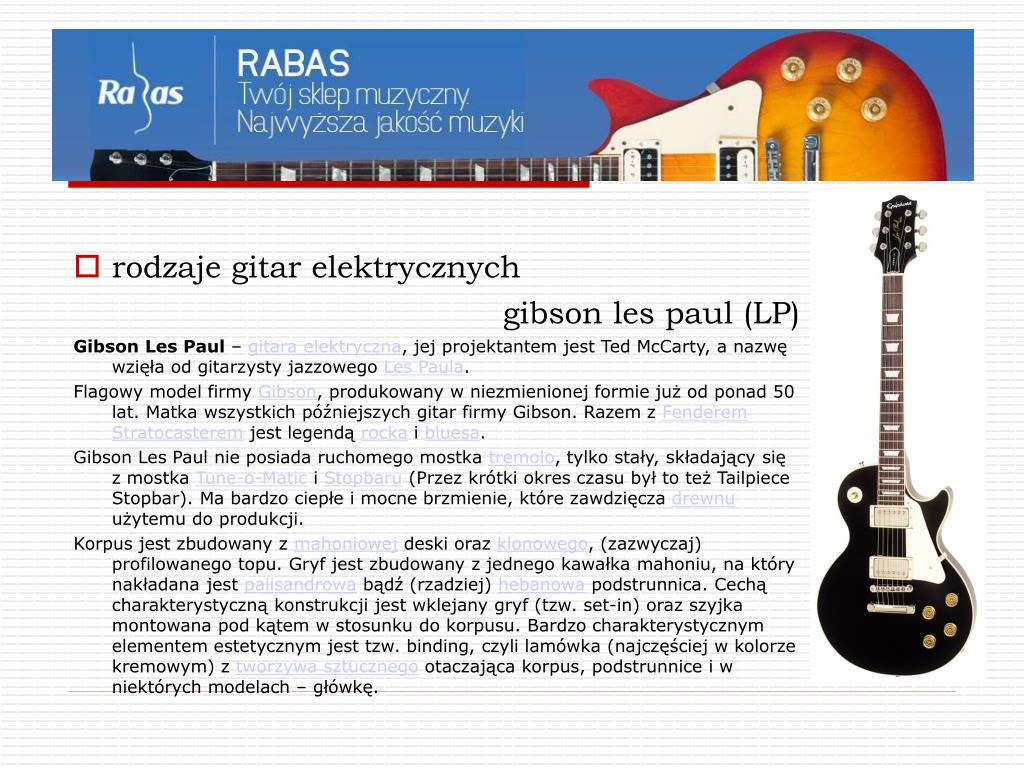 Ppt Tajemnice Gitary E Sklepmuzyczny Pl Powerpoint Presentation