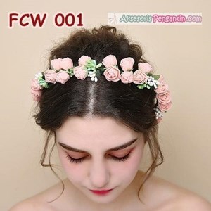 Sell Flower Crown Wedding Modern Pink Mahkota Bunga Pesta