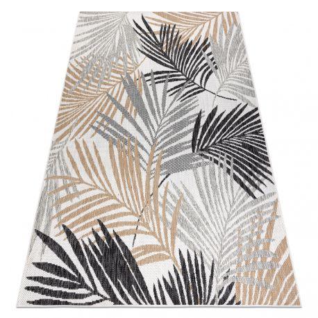 tapis sizal cooper feuilles de palmier tropical 22258 ecru noir tapis sisal tisse a plat