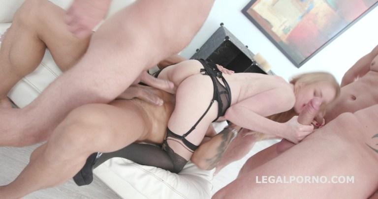 4on1 DP with Madison Lush balls deep anal, gapes, DAP, orgasm, swallow GIO818