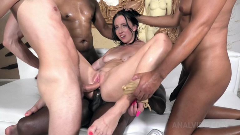4on1 Bella Angel Bound BDSM Anal and DP (gapes, double penetration, huge facial) NF032