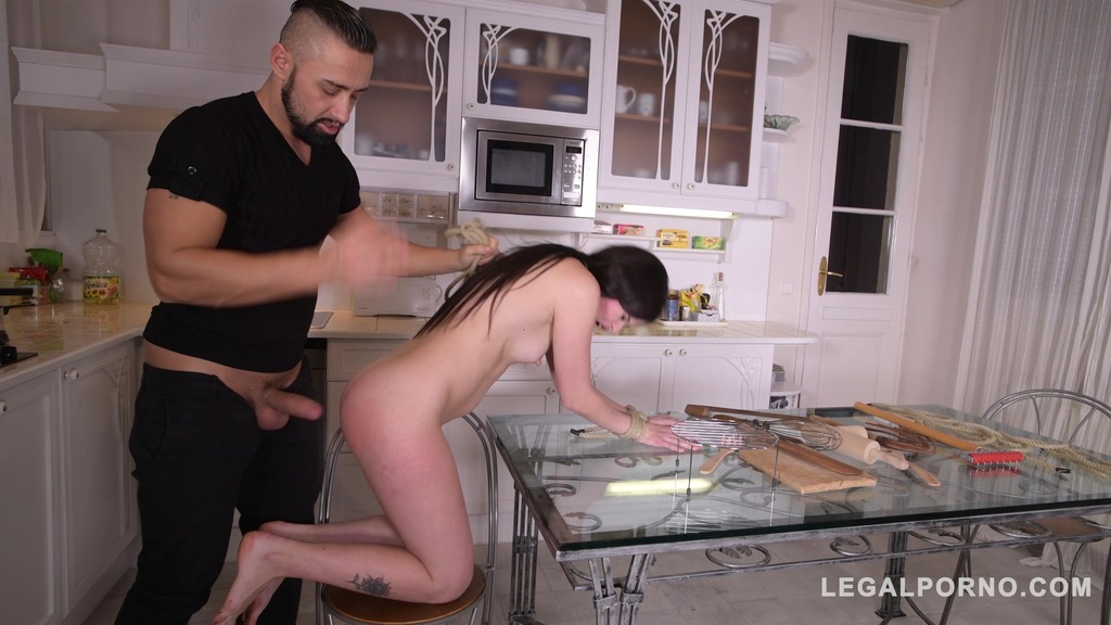 Teen Cassie Fire tied up with ropes for rough BDSM fuckeria in the kitchen GP227
