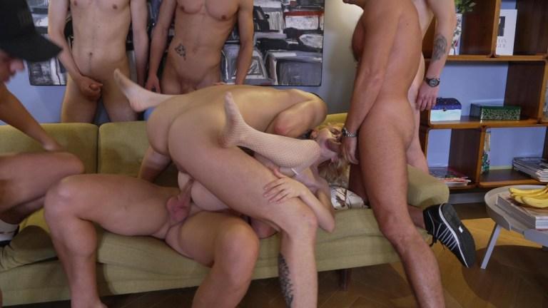 Triple Penetration with skinny schoolgirl Berlin! GangBang 7on1