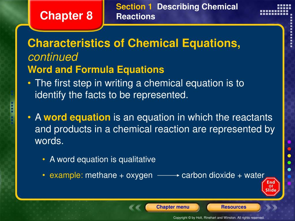 How To Write A Word Equation Represent Chemical Reaction
