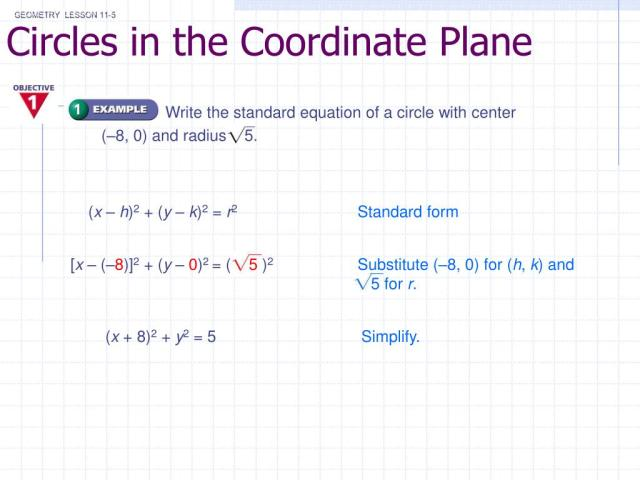 PPT - Circles in the Coordinate Plane PowerPoint Presentation