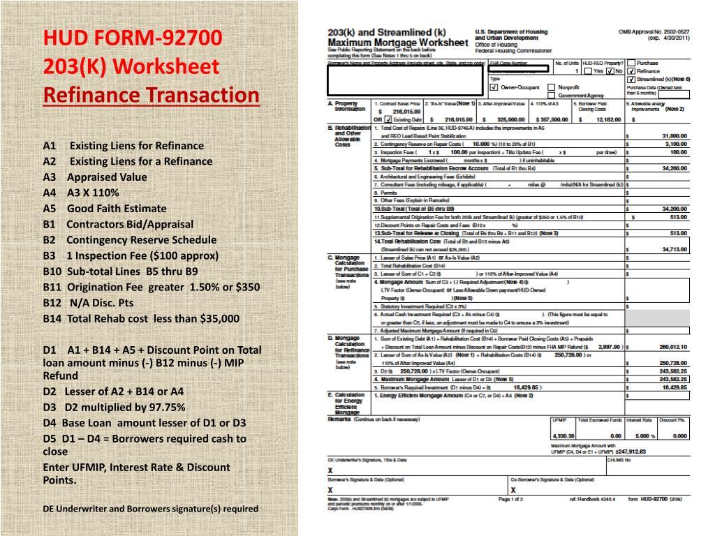 Hud Fha Refinance Worksheet