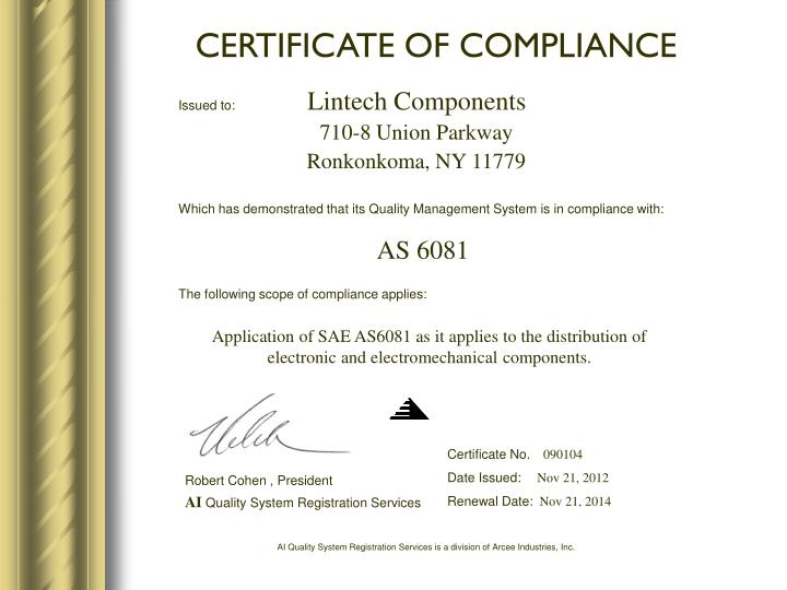 Ppt Certificate Of Compliance Powerpoint Presentation
