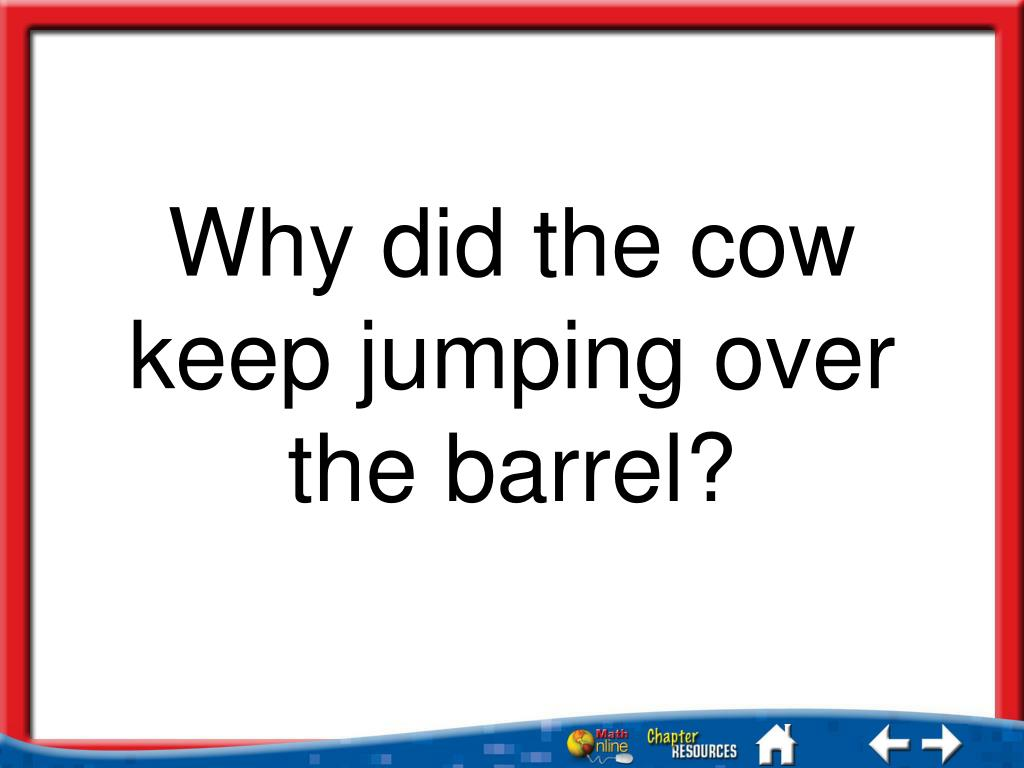 Why Did The Cow Keep Jumping Over The Barrel Worksheet