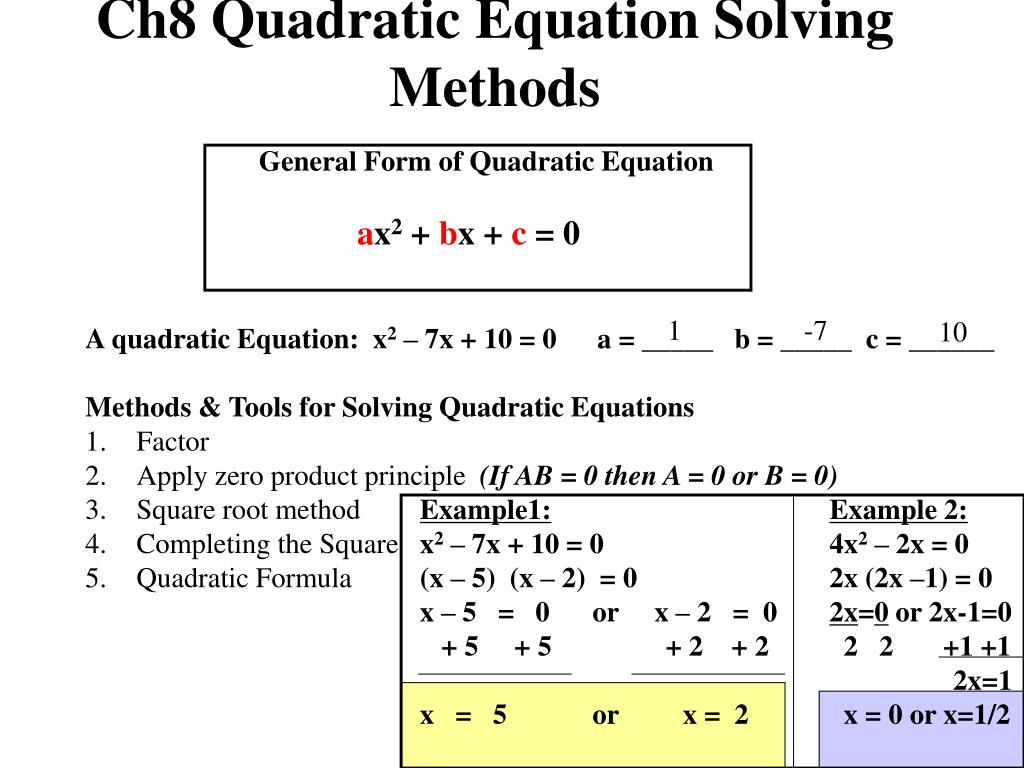 Solving Quadratic Equations By Any Method