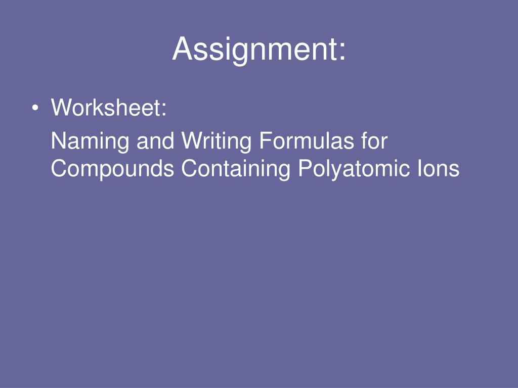 Naming Compounds Containing Polyatomic Ions Worksheet