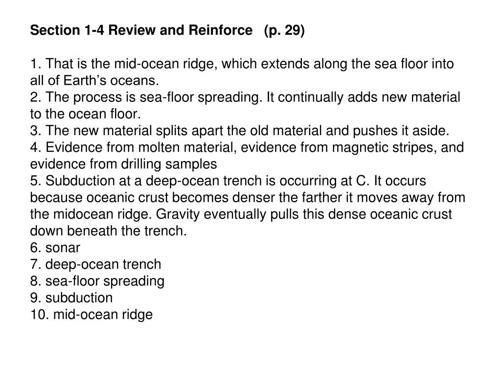 Sea Floor Spreading Worksheet Section 1 4