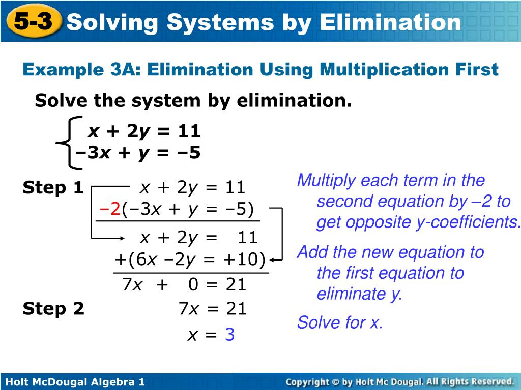 Solving Systems Of Equations Using Elimination Steps