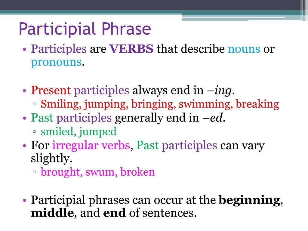 Begin Participle Grammar Bytes The Participle Phrase
