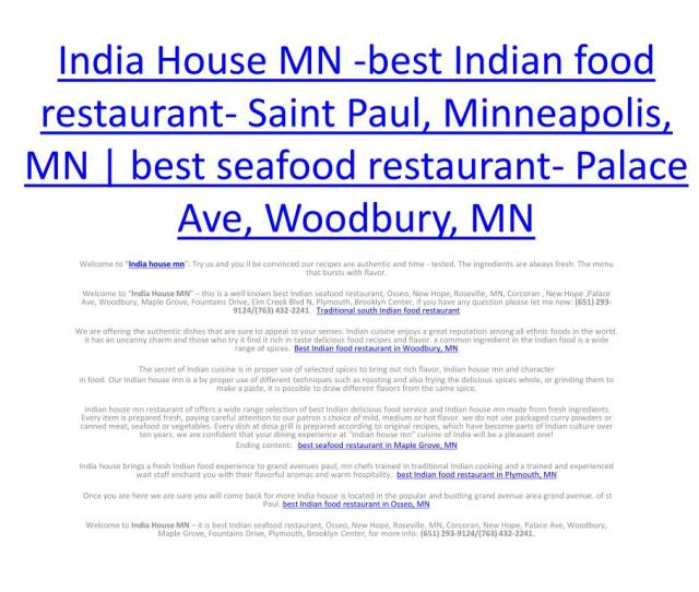 Ppt India House Mn Best Indian Food Restaurant Saint Paul Minneapolis Mn Best Seafood Restaurant Palace Ave Woodbur Powerpoint Presentation Id