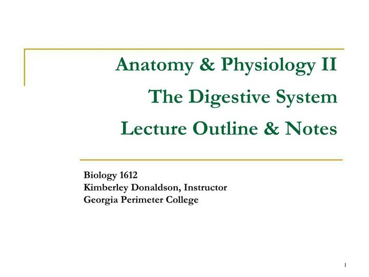 PPT - Anatomy Physiology II The Digestive System Lecture ...