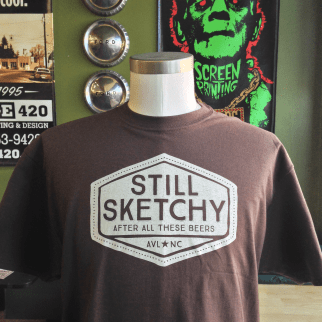 """Sketchy"" shirts. Available in our online store."