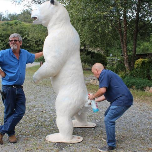 Lane and Joey prep the bear.
