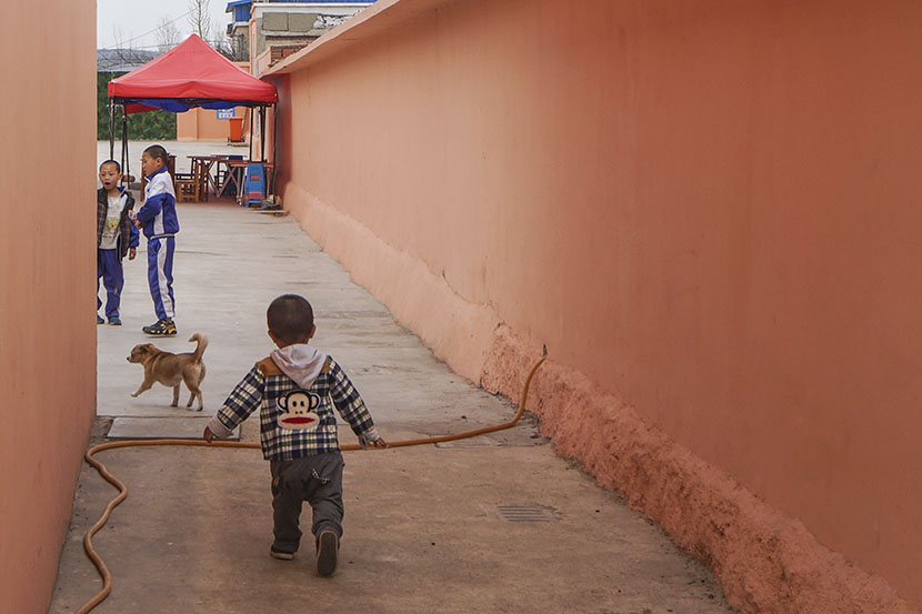 Hai Bao chases a dog at Dalian Children's Village in Liaoning province, April 17, 2017. Fan Yiying/Sixth Tone